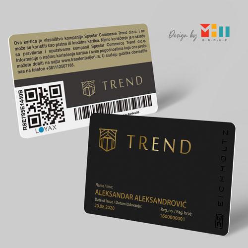 Dizajn plasticnih lojaliti kartica Trend